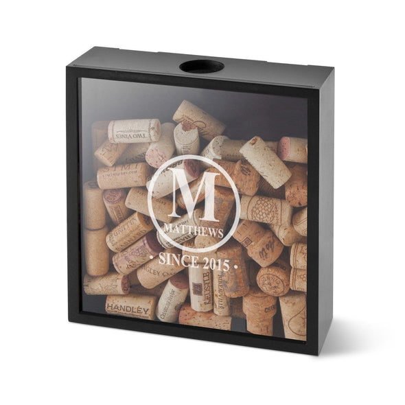 Personalized Wine Cork Display Shadow Box for Groomsmen - Initial - JDS