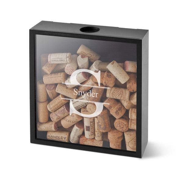 Personalized Wine Cork Display Shadow Box for Groomsmen - Stamped - JDS