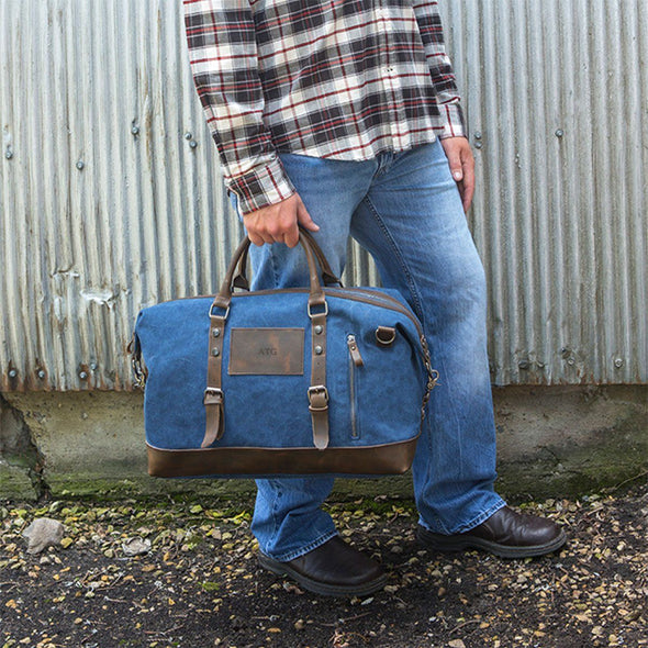 Personalized Blue Canvas and Leather Weekender Duffel Bag -  - JDS