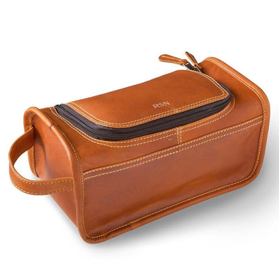 Personalized Distressed Tan Leather Toiletry Bag -  - JDS