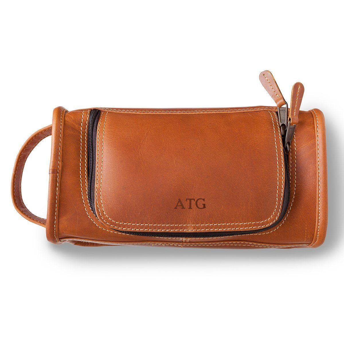 Personalized Tan Distressed Leather Toiletry Bag