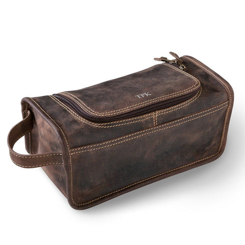Personalized Borello Leather Distressed Brown Travel Dopp Kit -  - Travel Gear - AGiftPersonalized