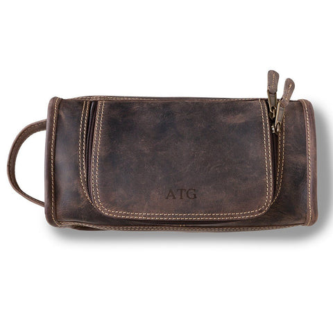 Personalized Borello Leather Distressed Brown Travel Dopp Kit - Blind - Travel Gear - AGiftPersonalized