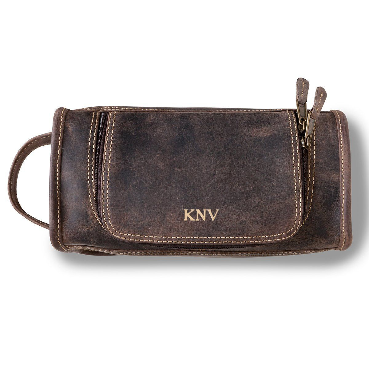 Personalized Distressed Leather Brown Toiletry Bag