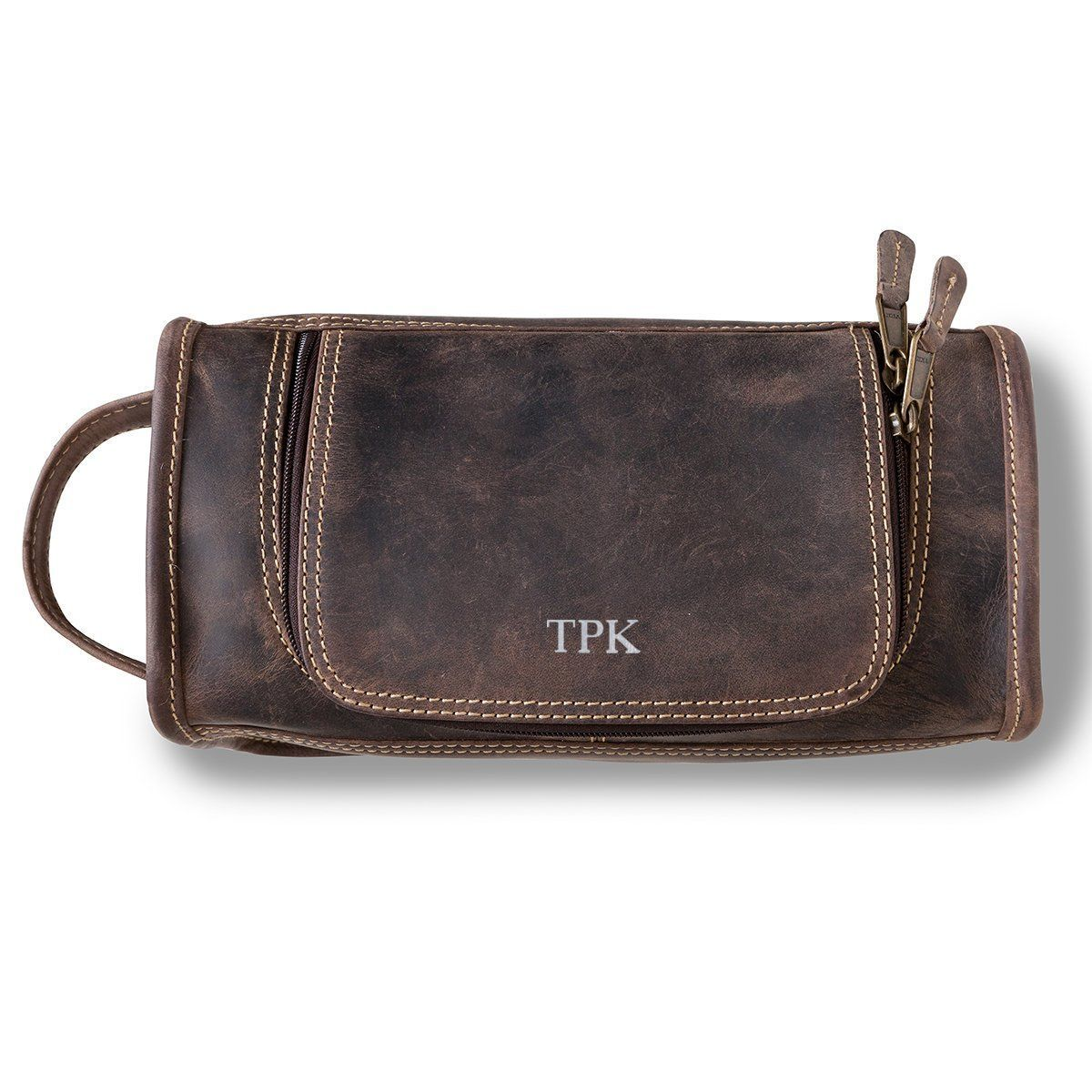 Personalized Borello Leather Distressed Brown Travel Dopp Kit