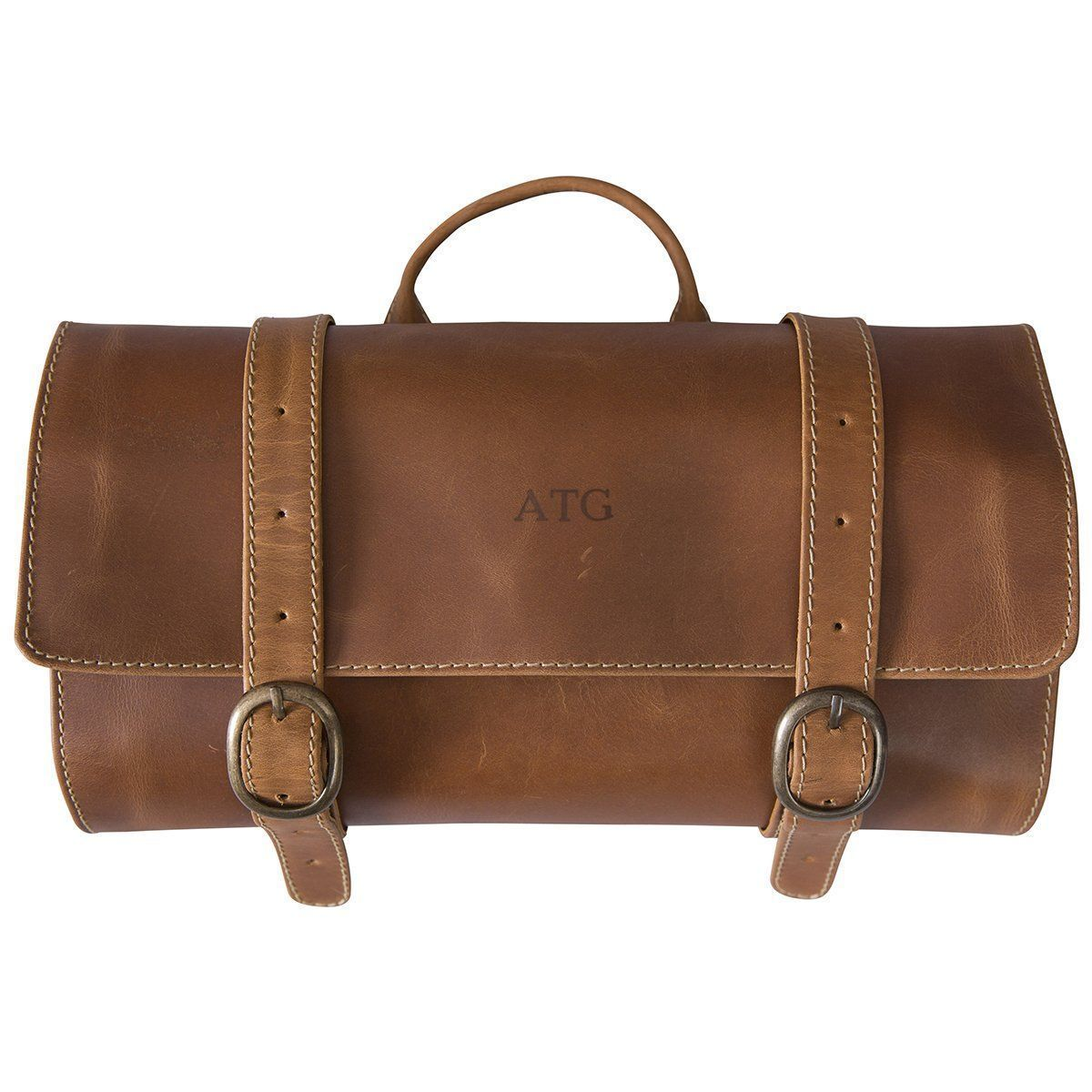 Personalized Borello Distressed Tan Leather Hanging Travel Bag
