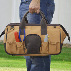 Personalized Borello Leather & Canvas Tool Bag -  - Gifts for Him - AGiftPersonalized