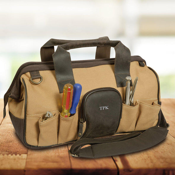 Personalized Leather & Canvas Tool Bag - Silver - JDS