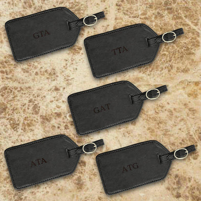 Personalized  Set of 5 Borello Black Leather Luggage Tags -  - JDS