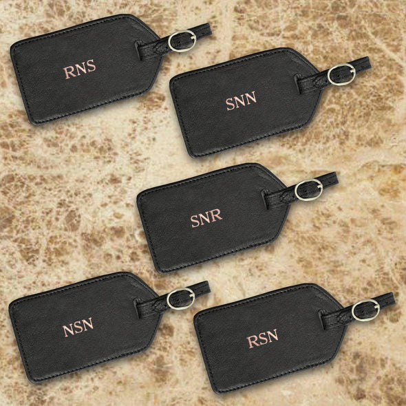 Personalized Set of 5 Black Leather Luggage Tags - Gold - JDS