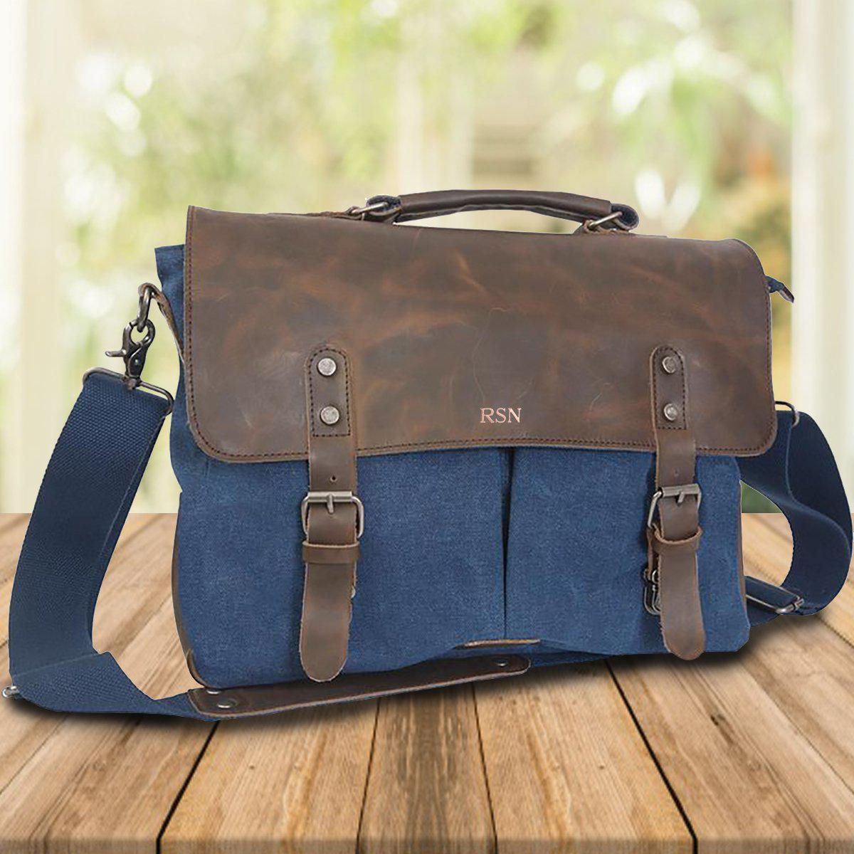 Personalized Blue Borello Leather & Canvas Messenger Bag