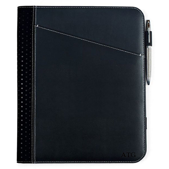 Personalized Borello Cedar Black Leather Writing Pad - Blind - JDS
