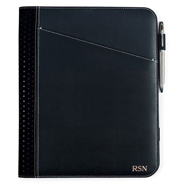 Personalized Borello Cedar Black Leather Writing Pad - RoseGold - JDS