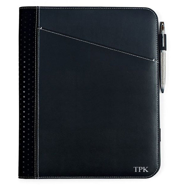 Personalized Borello Cedar Black Leather Writing Pad - Silver - JDS