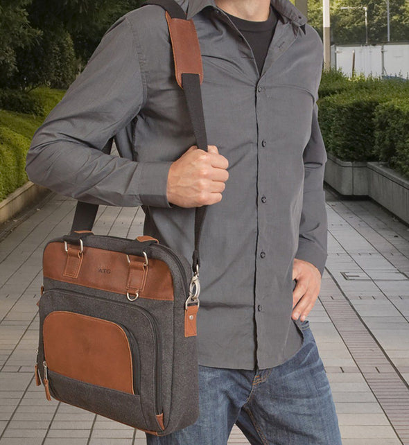 Personalized Grey Wool & Leather Briefcase -  - JDS