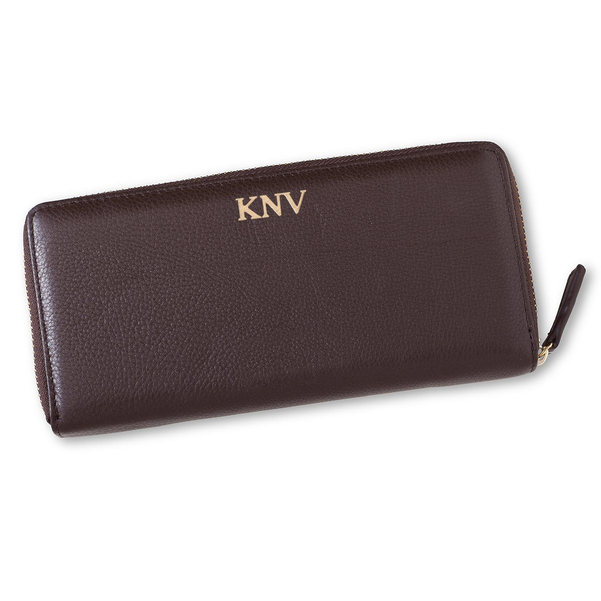 Personalized Women's Brown Borello Leather Zip Wallet