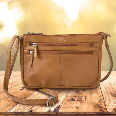 Personalized Women's Tan Leather Crossbody Bag - RoseGold - JDS