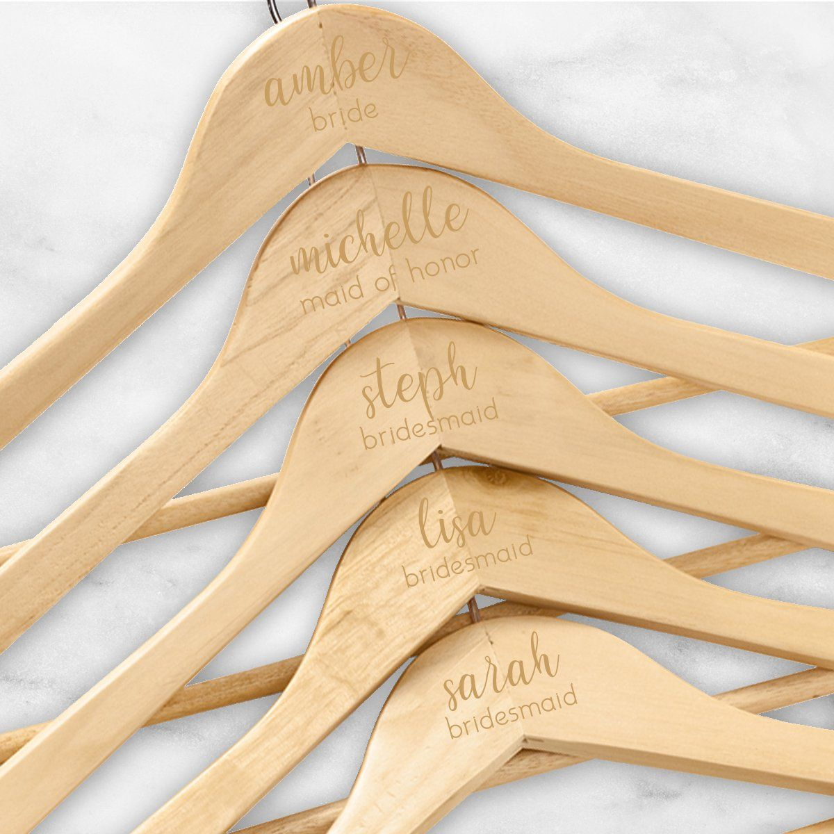 Personalized Bride/Bridesmaid Wooden Hangers Set of 5