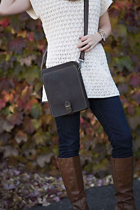 Personalized Leather Crossbody  Ipad® Tablet Media Bag -  - JDS