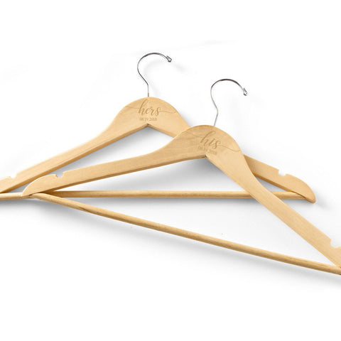 Personalized His/Hers Wooden Hangers Set of 2 -