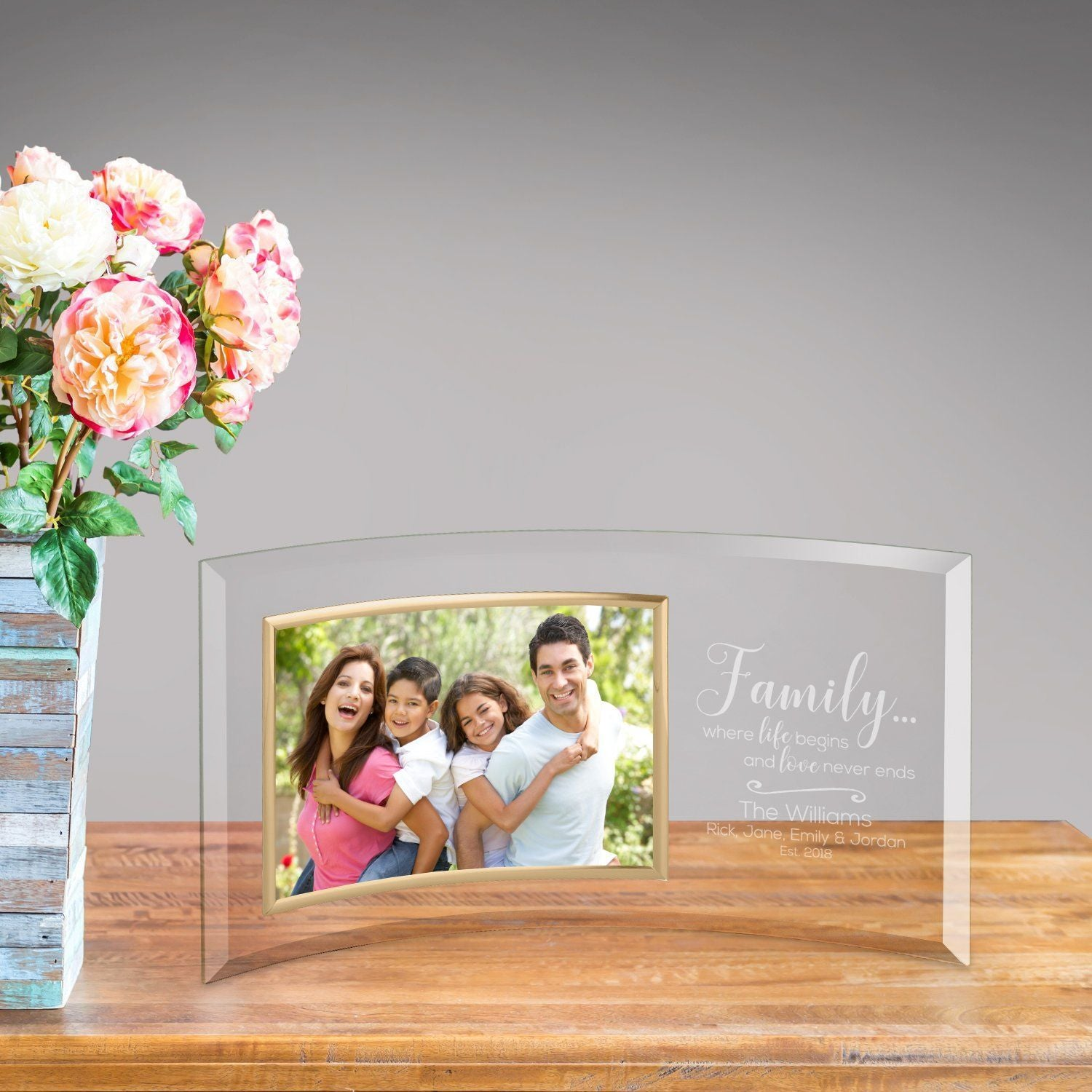 Personalized gifts engraved gifts monogrammed gifts save 25 personalized family love glass photo frame jeuxipadfo Image collections