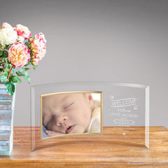 Personalized Welcome Baby Glass Photo Frame -  - Frames - AGiftPersonalized
