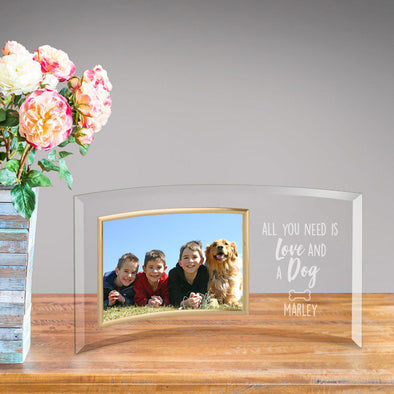 Personalized Love and A Dog Glass Photo Frame -  - JDS