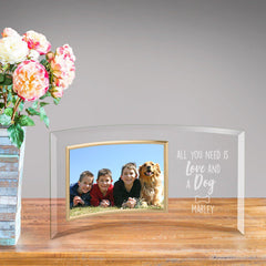 Personalized Love and A Dog Glass Photo Frame at AGiftPersonalized
