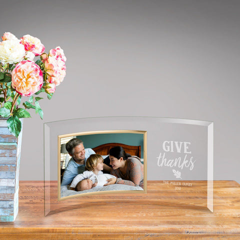 Personalized Glass Picture Frame - Give Thanks -