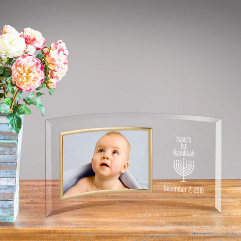 Personalized First Hanukkah Glass Photo Frame -  - Frames - AGiftPersonalized