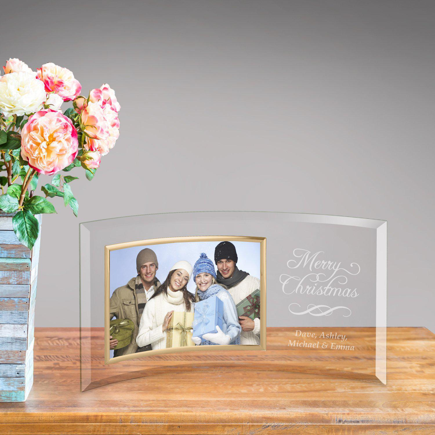 Personalized Glass Picture Frame - Merry Christmas