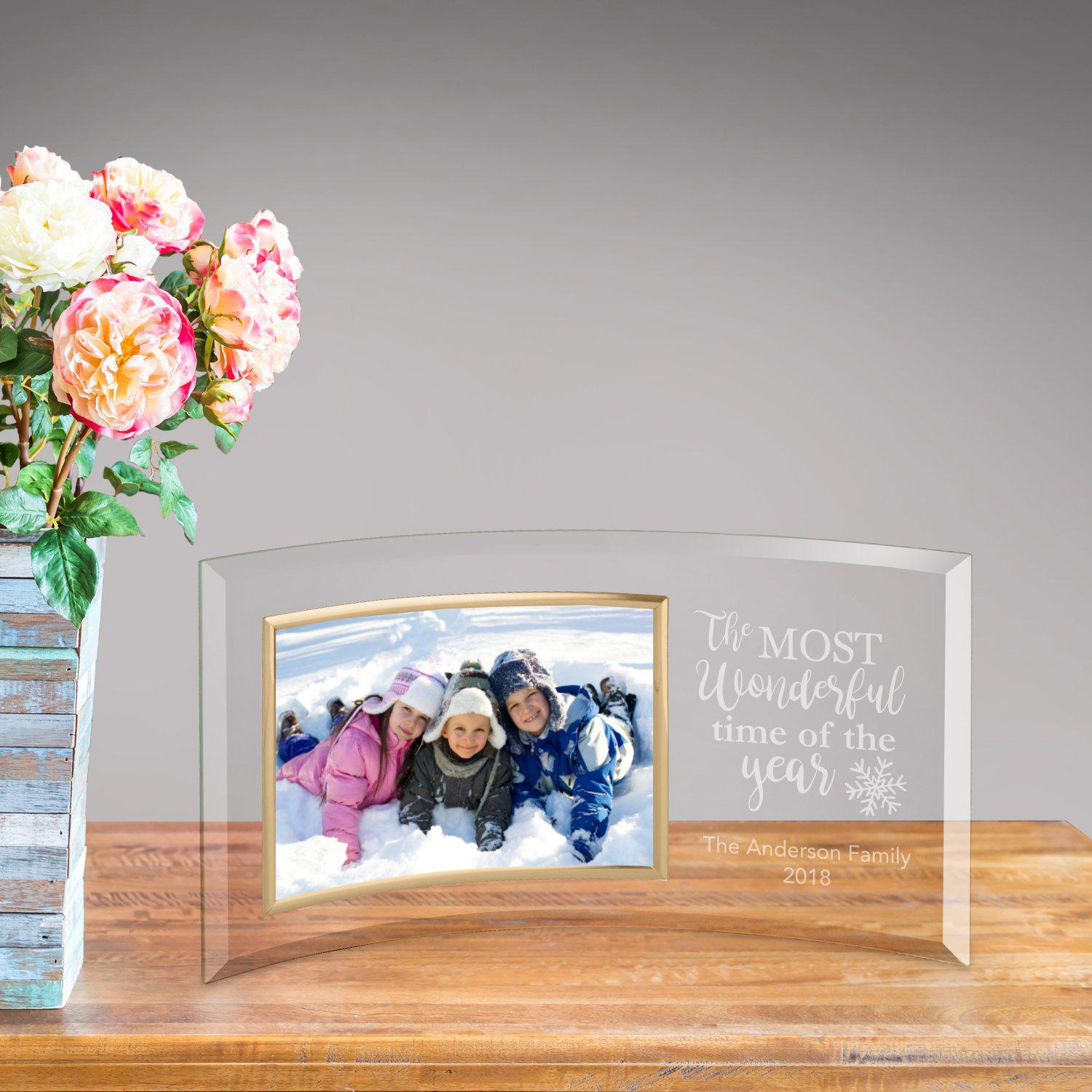 Personalized Glass Picture Frame - The Most Wonderful Time of The Year