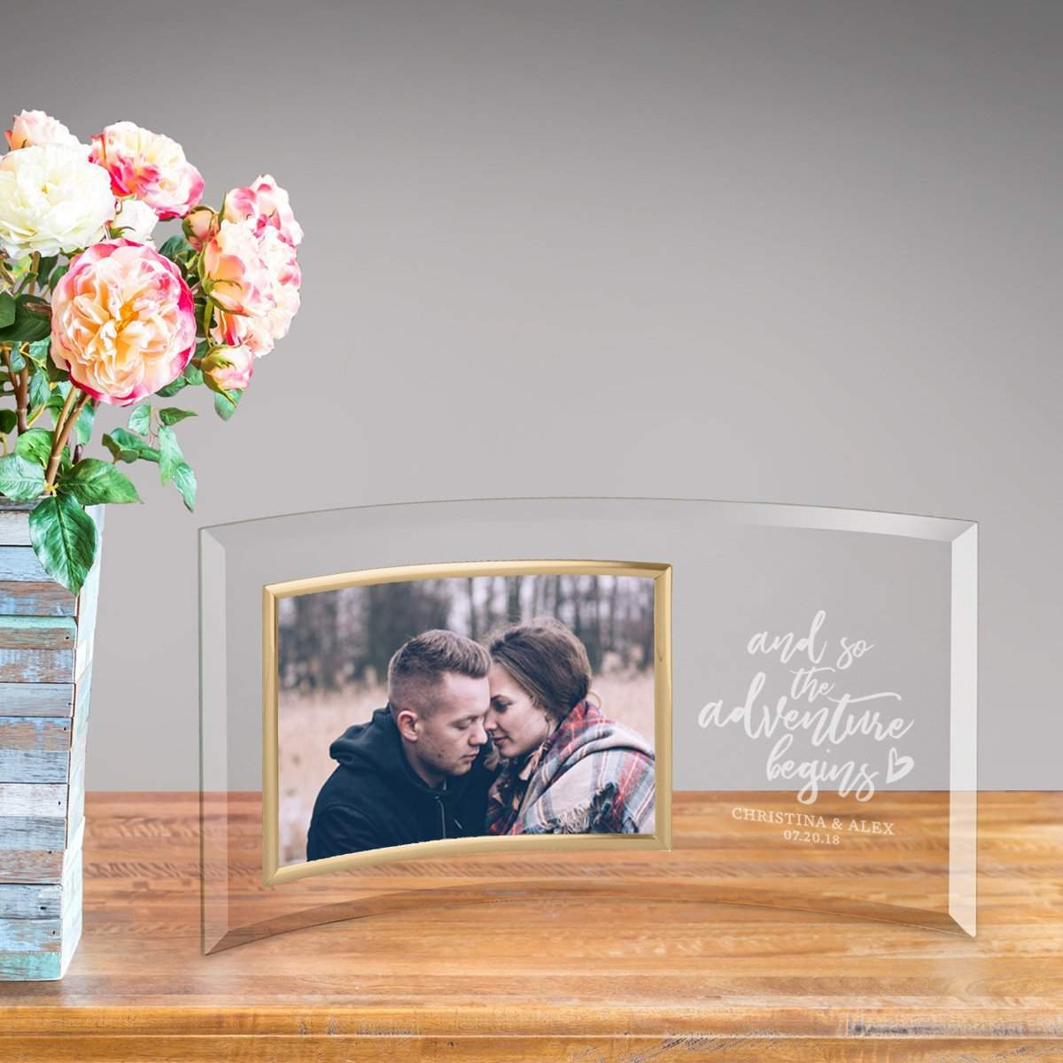 Personalized Adventure Begins Glass Photo Frame