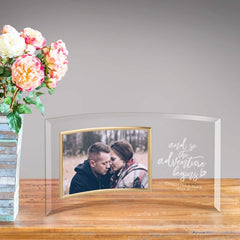 Personalized Adventure Begins Glass Photo Frame at AGiftPersonalized