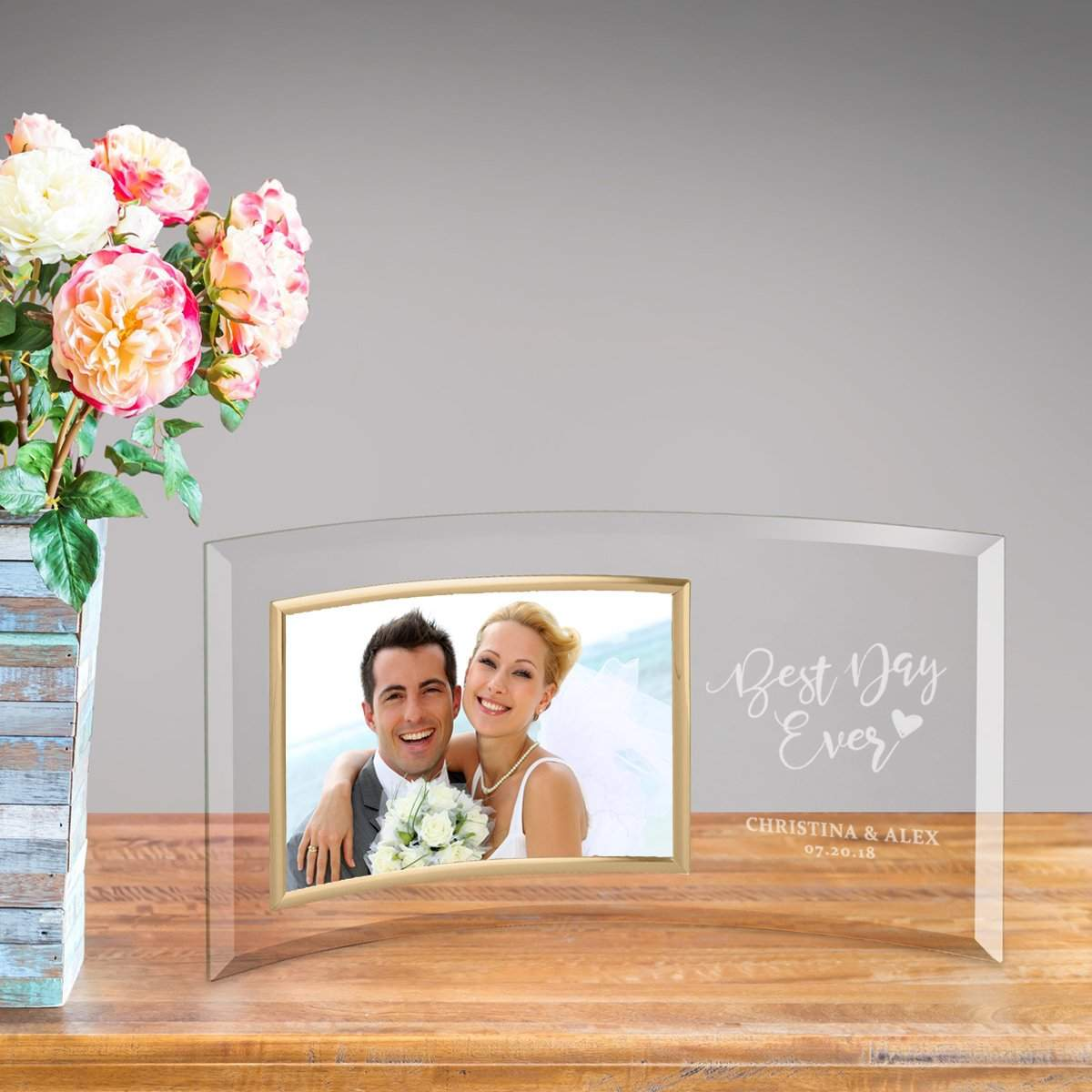Personalized Best Day Ever Glass Photo Frame