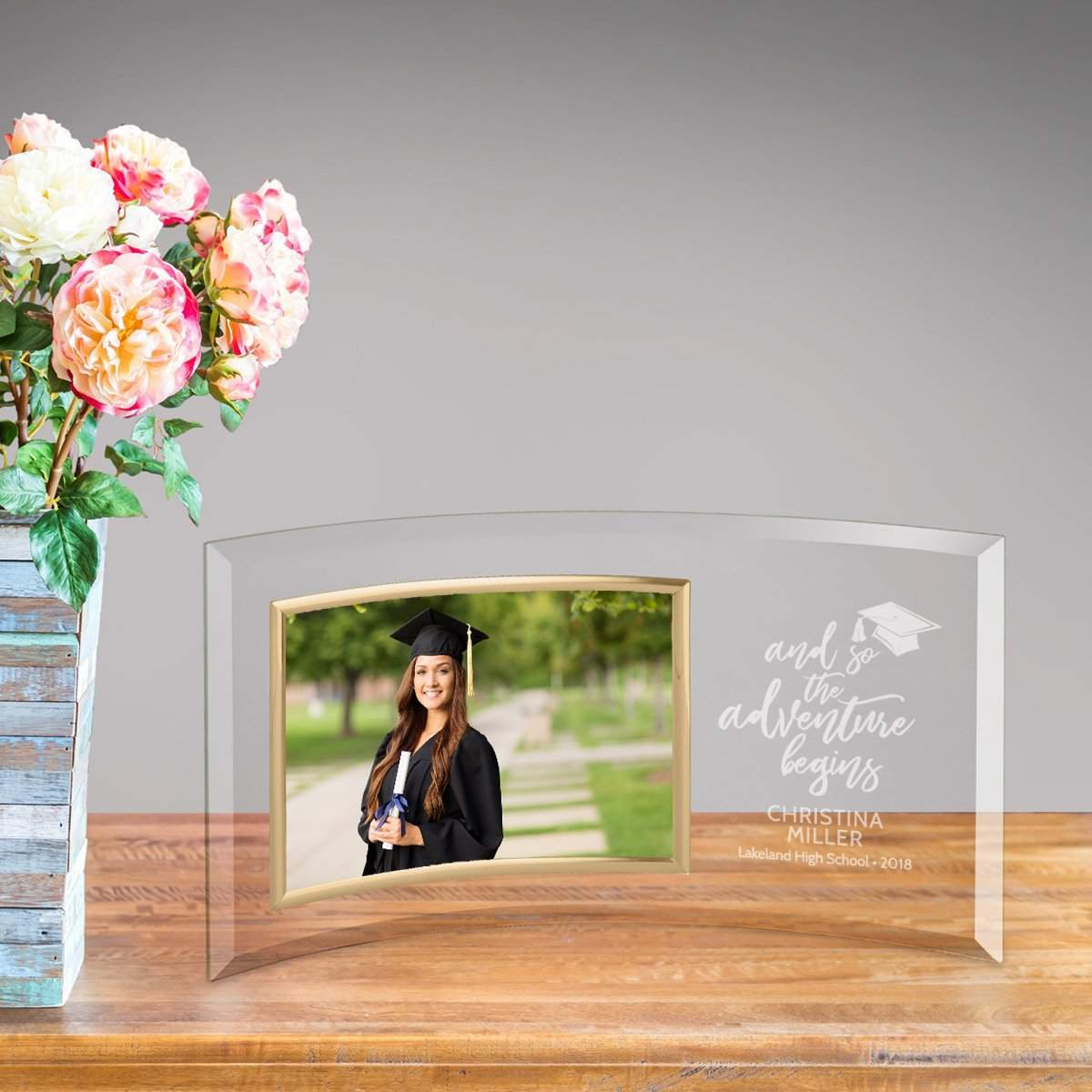 Personalized Graduation Adventure Begins Glass Picture Frame