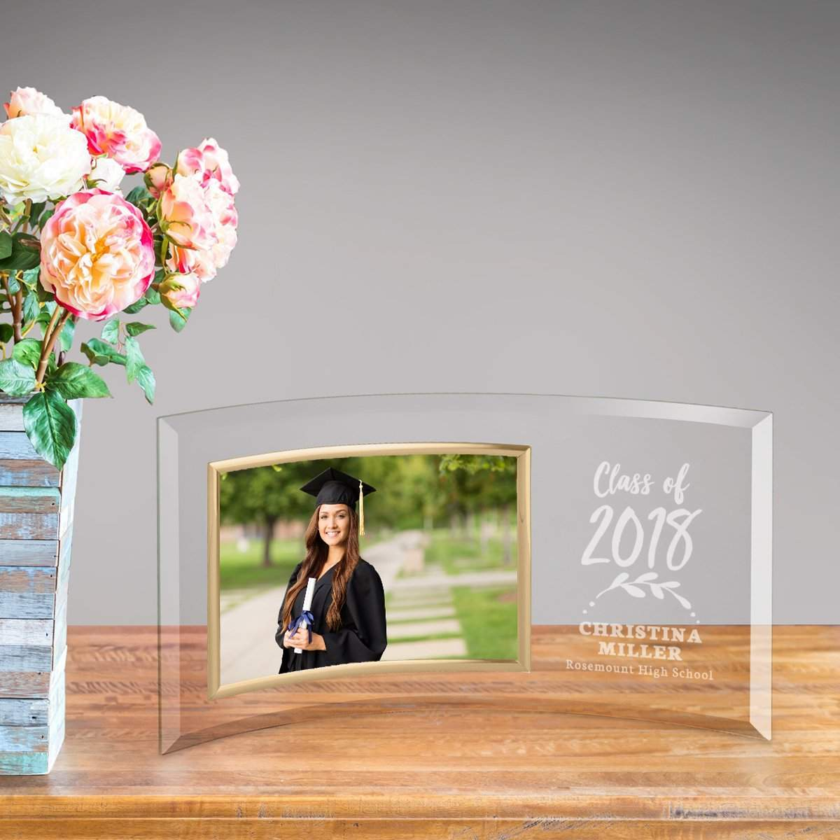 Personalized Graduation Class of 2021 Glass Picture Frame
