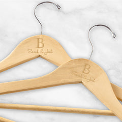 Personalized Initial & Names Wooden Hangers - Set of 2 -  - Keepsake Gifts - AGiftPersonalized
