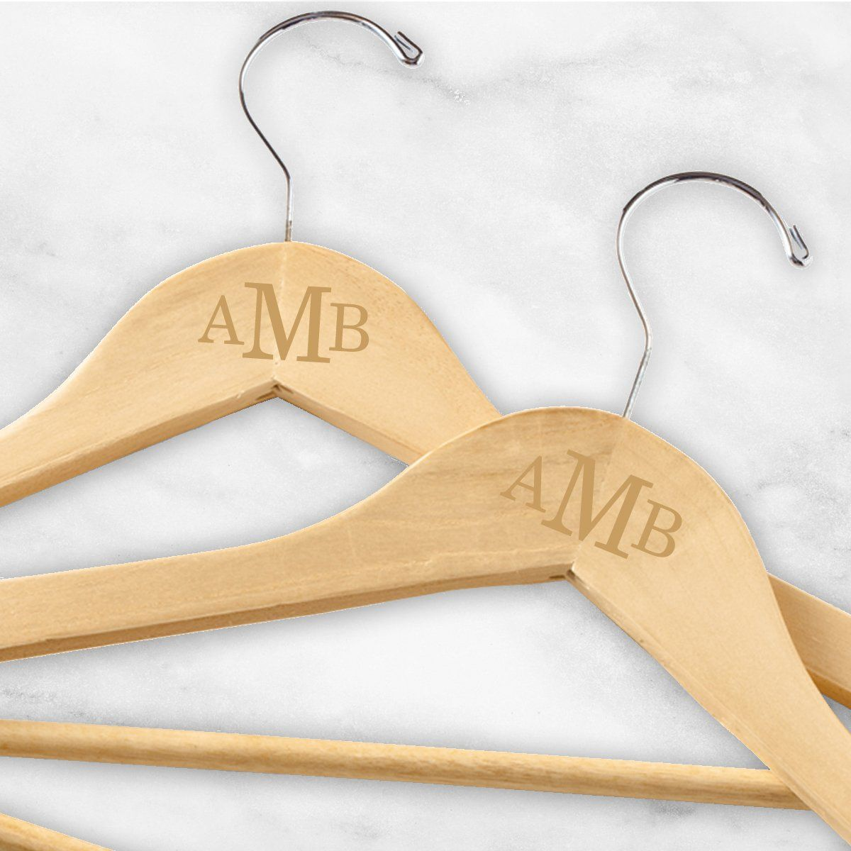 Personalized Monogrammed Wooden Hangers Set of 2