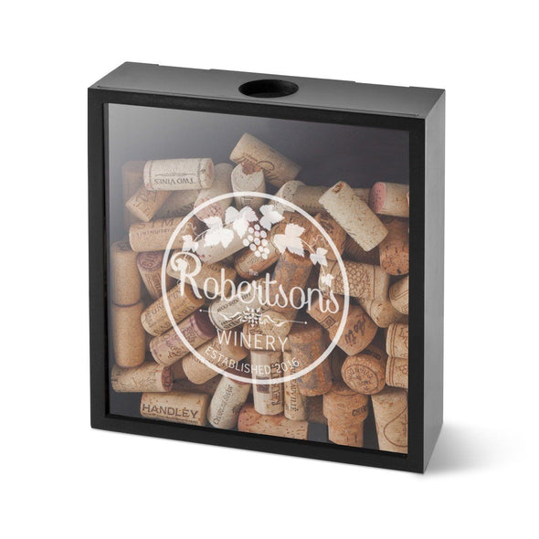 Personalized Wine Cork Display Shadow Box for Groomsmen - Cabernet - JDS