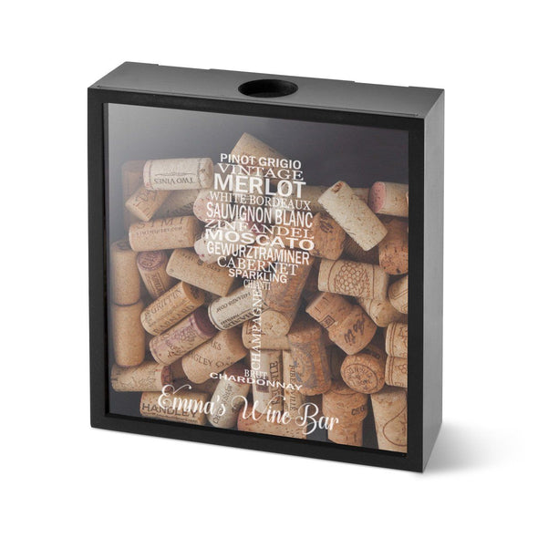 Personalized Wine Cork Display Shadow Box - Glasswords - JDS