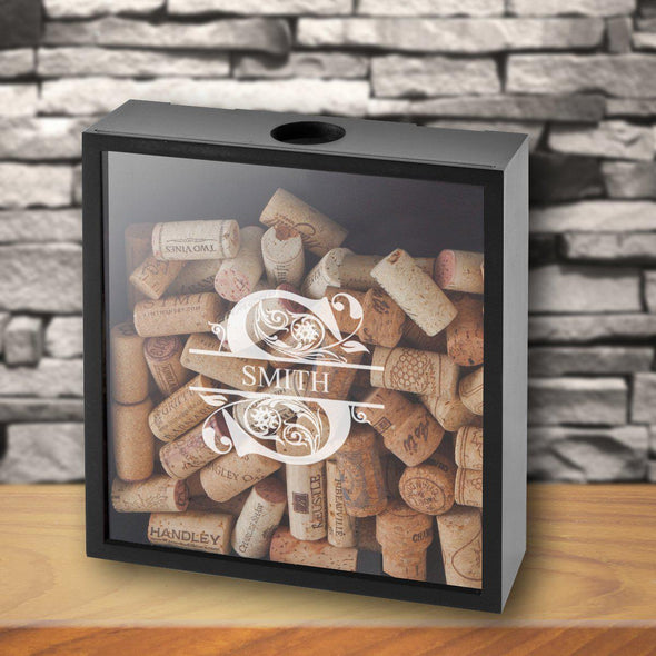 Personalized Wine Cork Display Shadow Box - Filigree - JDS