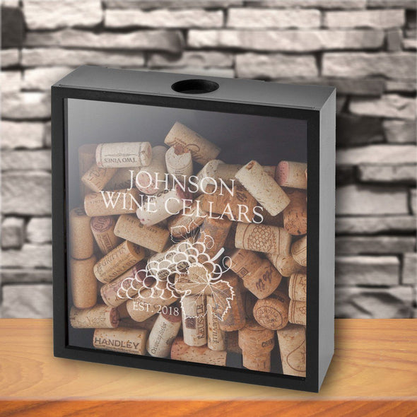 Personalized Wine Cork Display Shadow Box - Cellar - JDS