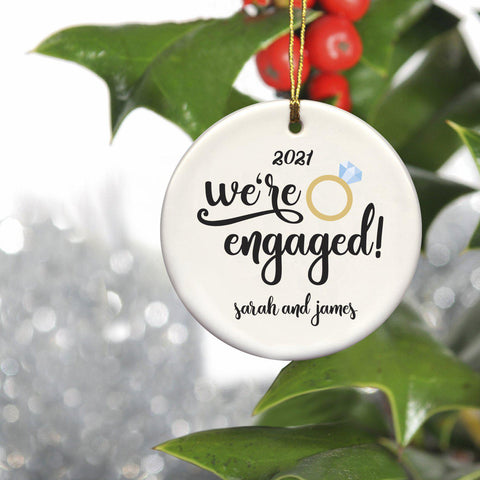 Personalized Christmas Ornaments - Couple's Ornaments - Ceramic - Engaged - Ornaments - AGiftPersonalized