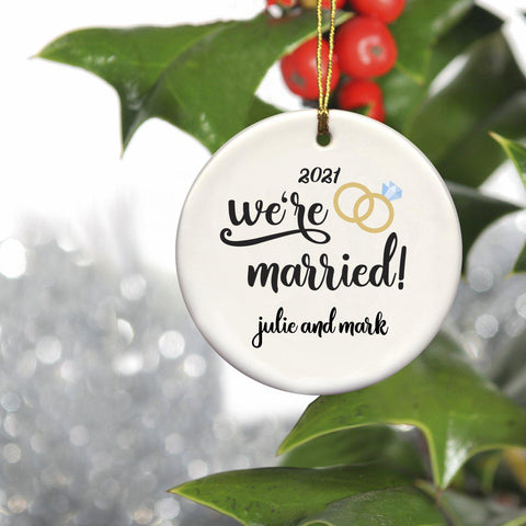 Personalized Christmas Ornaments - Couple's Ornaments - Ceramic - Married - Ornaments - AGiftPersonalized