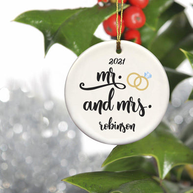 Personalized Couple's Ceramic Christmas Ornaments - Mr Mrs - JDS
