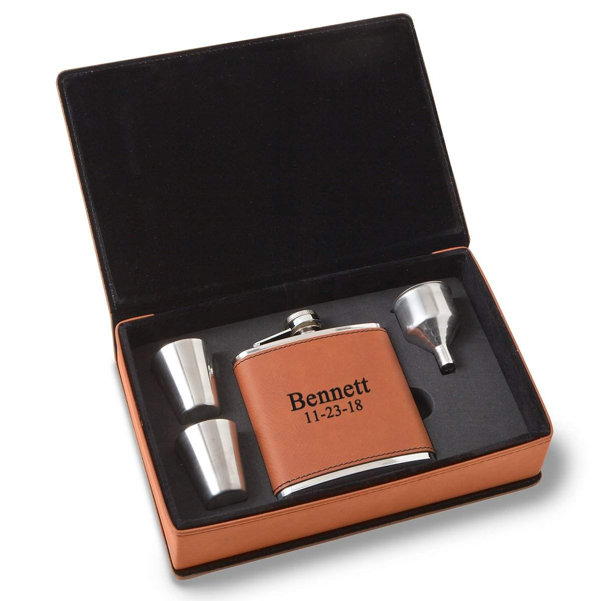 Personalized-6-oz-Rawhide-Flask-Gift-Set