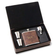 Personalized Rustic Faux Leather Stainless Steel Flask Gift Set - 3Initials