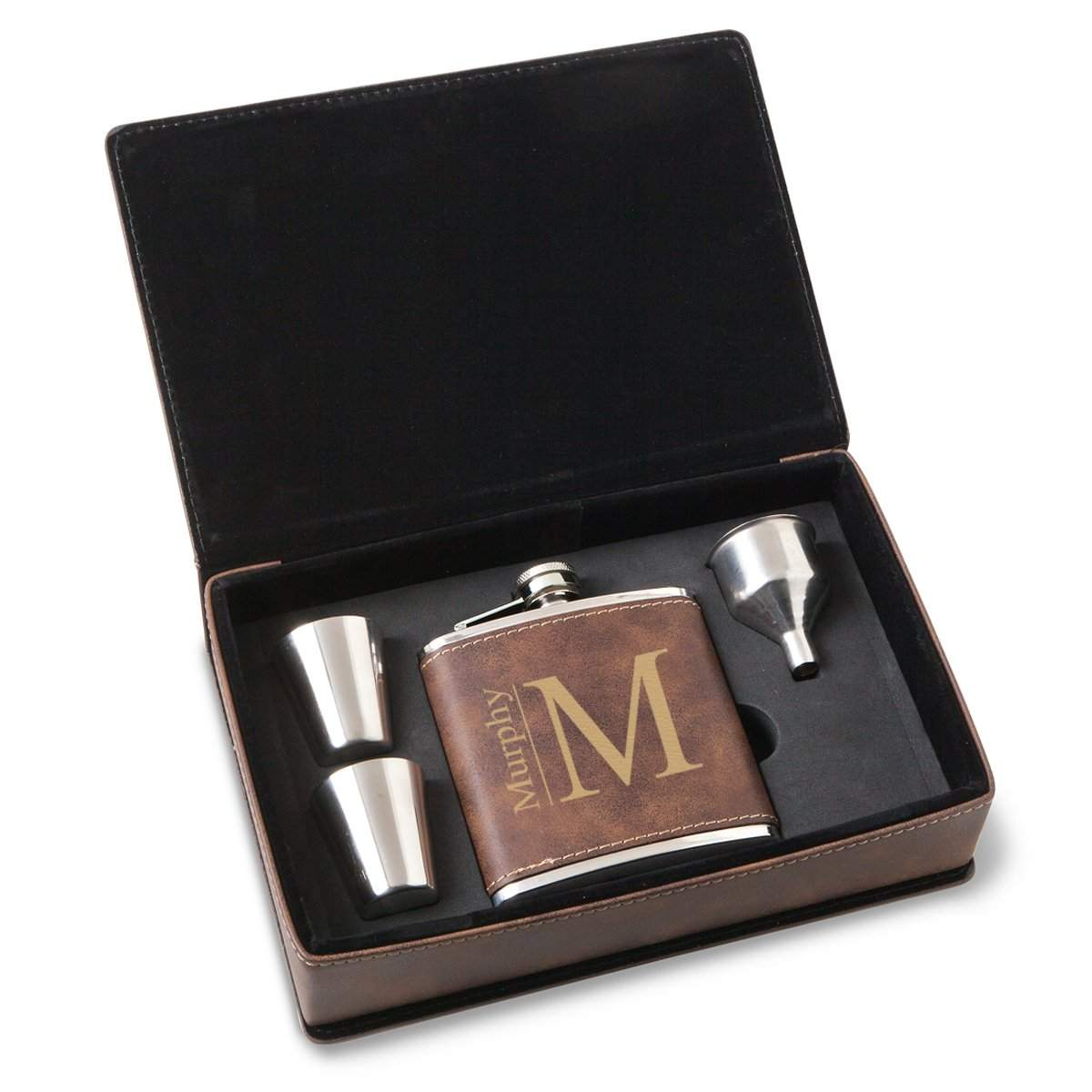 Personalized-Rustic-Faux-Leather-Stainless-Steel-Flask-Gift-Set