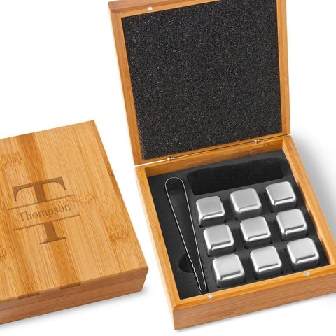 Personalized Stainless Steel Whiskey Stone Set -  - Personalized Barware - AGiftPersonalized
